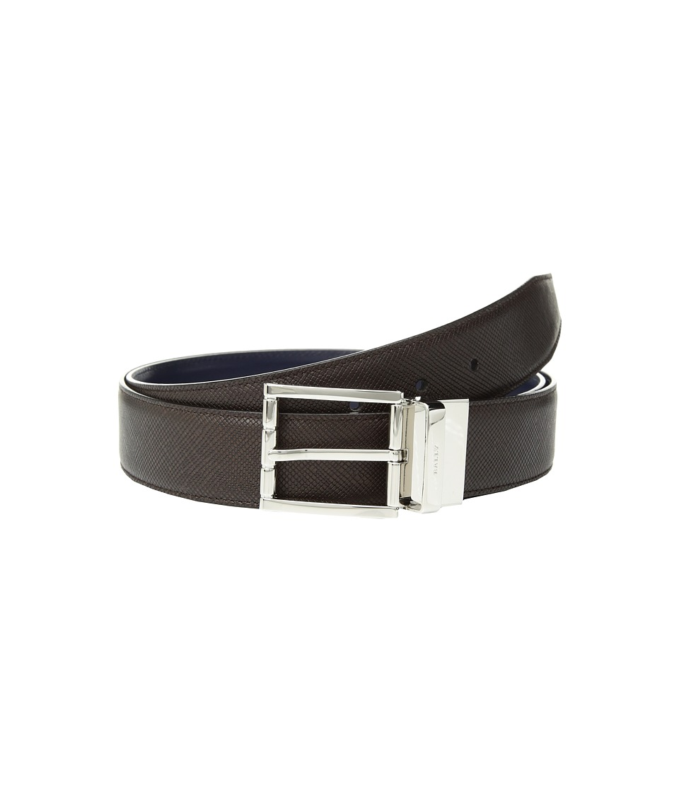 Image of Bally - Astor Reversible Dress Belt (Coffee/Ink) Men's Belts