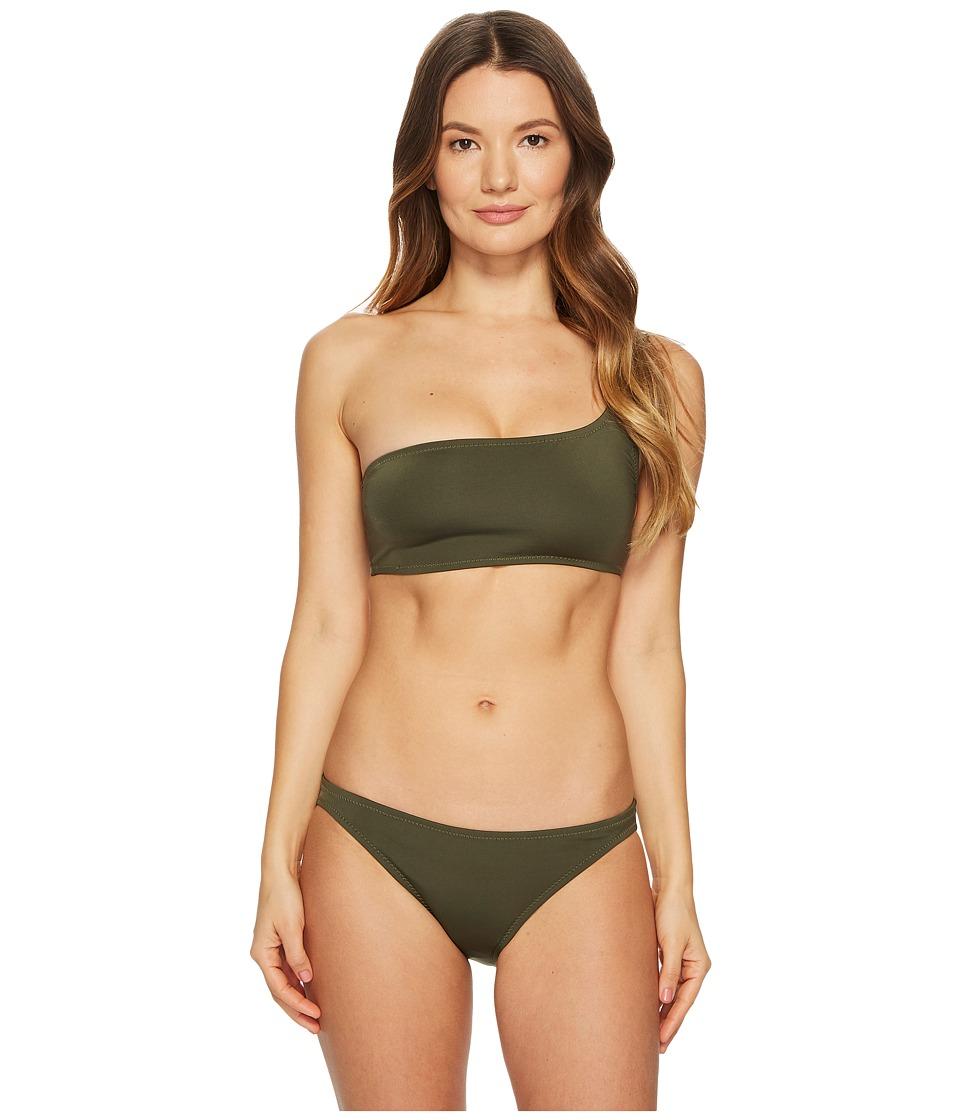 Proenza Schouler Solids Two-Piece Bikini Set w/ One-Shoulder Bikini Top Classic Bottom (Fatigue) Women