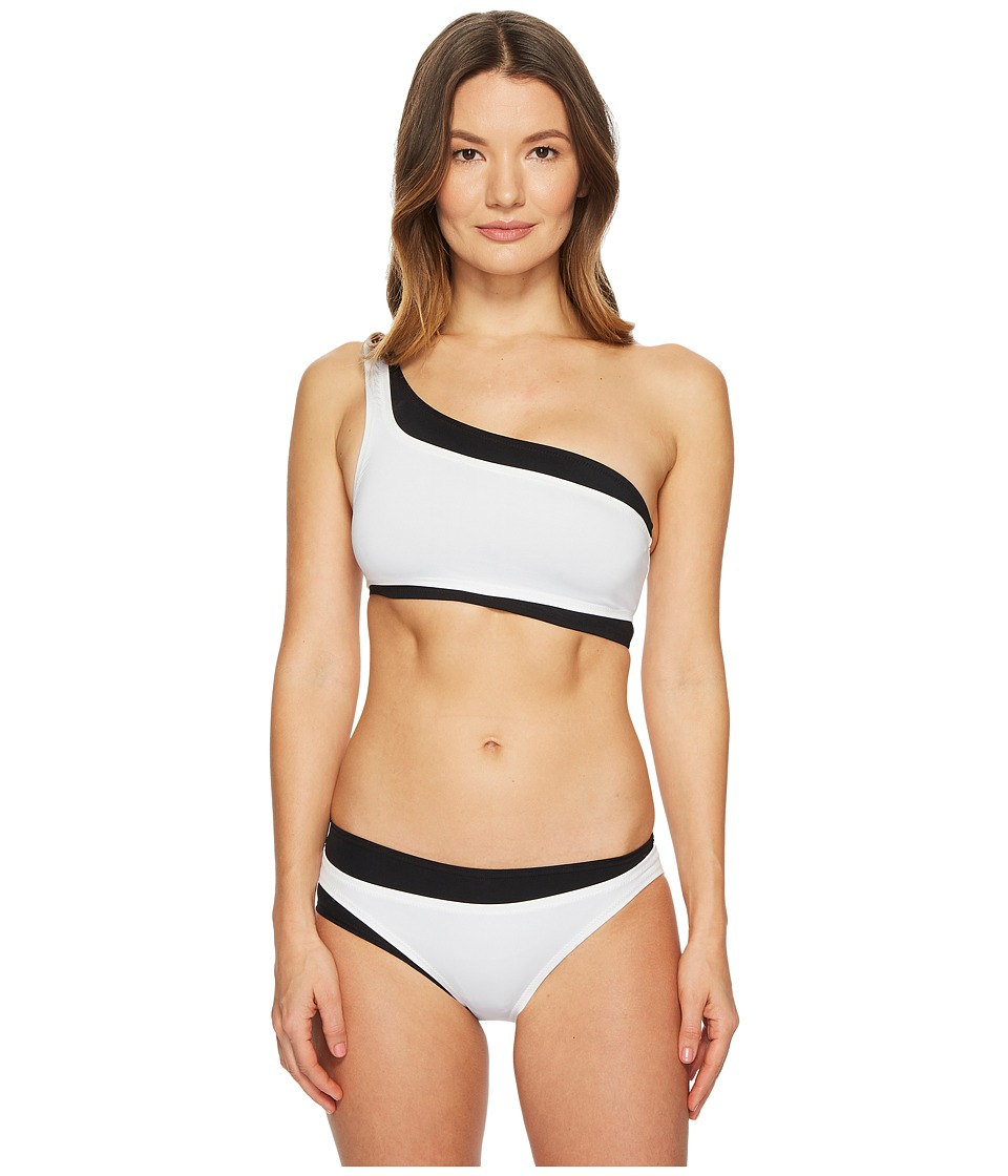 Proenza Schouler Contrast Solids Two-Piece Bikini Set w/ Layered One-Shoulder Top Classic Bottom P52047-005