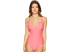 Kate Spade New York Morro Bay #69 Scalloped V-Neck One-Piece w/ Adjustable Straps Removable Soft Cups