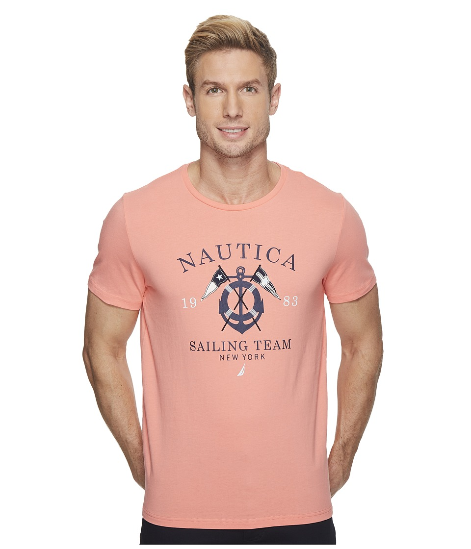 Nautica Short Sleeve 1983 Sail Team T-Shirt (Pale Coral) Men