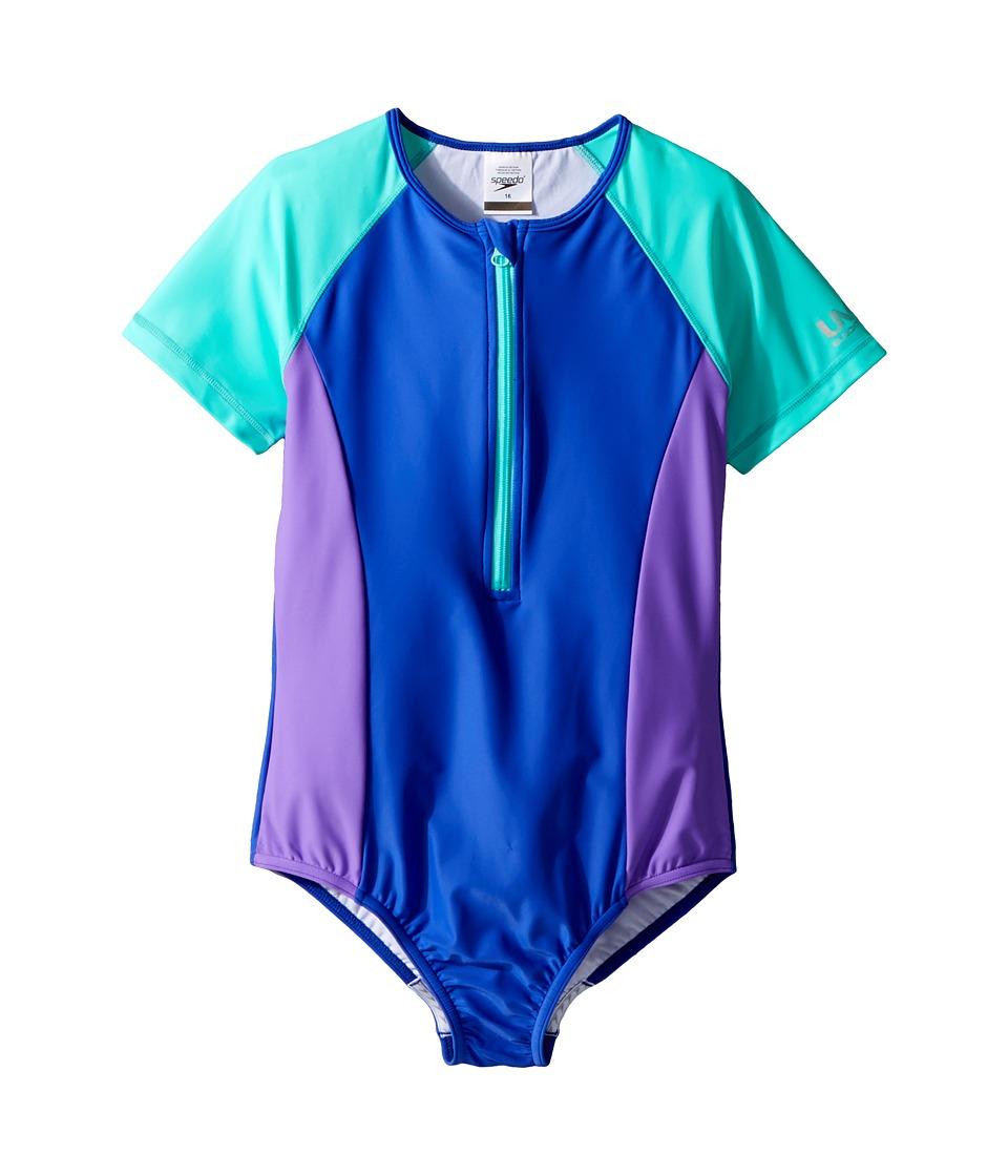 Speedo Kids - Short Sleeve Zip One-Piece Swimsuit (Big Kids) (Dark Peri) Girls Swimsuits One Piece