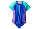 Speedo Kids Short Sleeve Zip One-Piece Swimsuit (Big Kids)