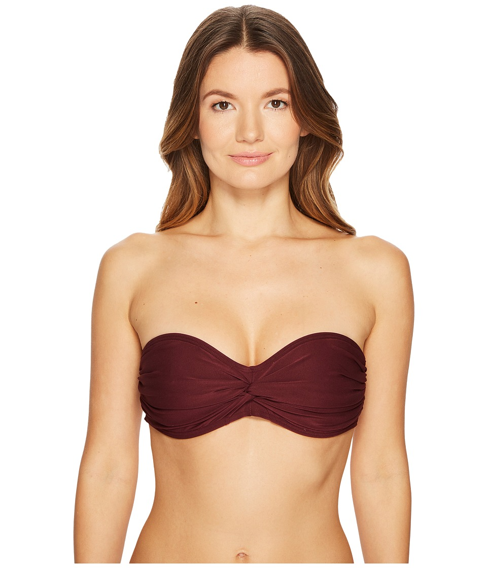 Kate Spade New York Isla Vista #74 Bandeau Bikini Top w/ Molded Cups Removable Halter Neck Ties (Deep Cherry) Women