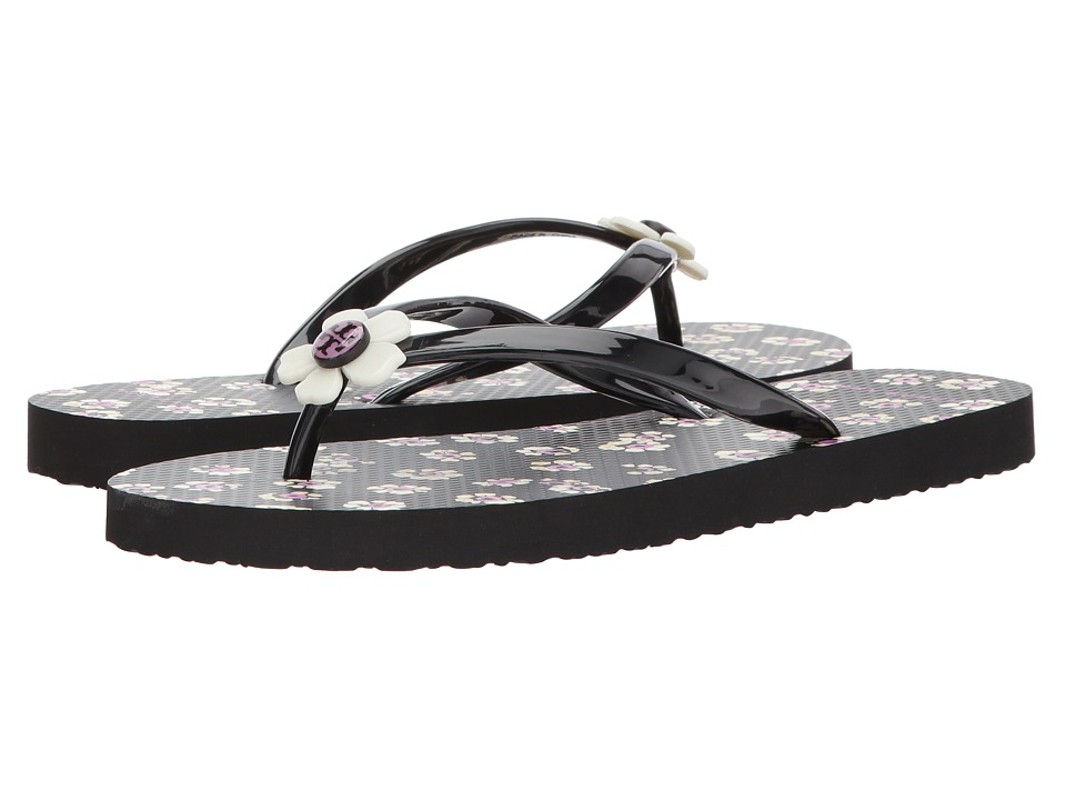 Tory Burch - Flower Flip-Flop (Black/Stampe) Women's Sandals
