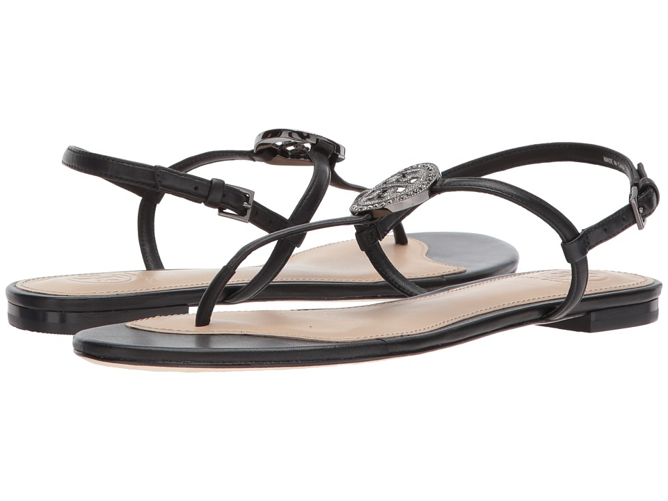 Tory Burch Liana Flat Sandal (Black) Women's Sandals