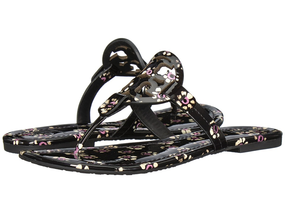 Tory Burch Miller Flip Flop Sandal (Black Stamped Floral) Women's Shoes
