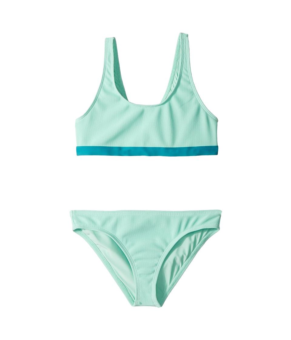 Splendid Littles - Color Blocked Bralette Retro Pants (Big Kid) (Aqua) Girls Swimwear Sets