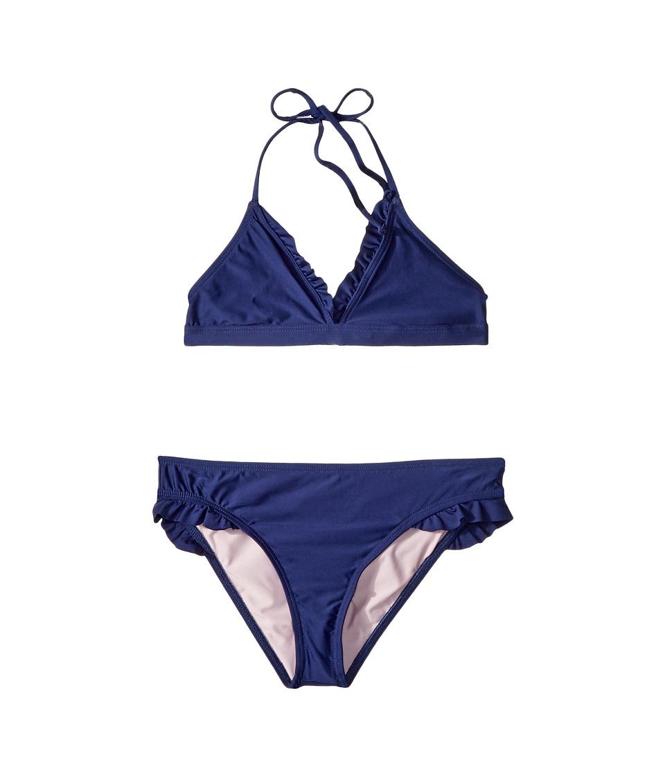 Splendid Littles - Color Blocked Banded Triangle Bra Ruffle Pants (Big Kid) (Navy) Girls Swimwear Sets