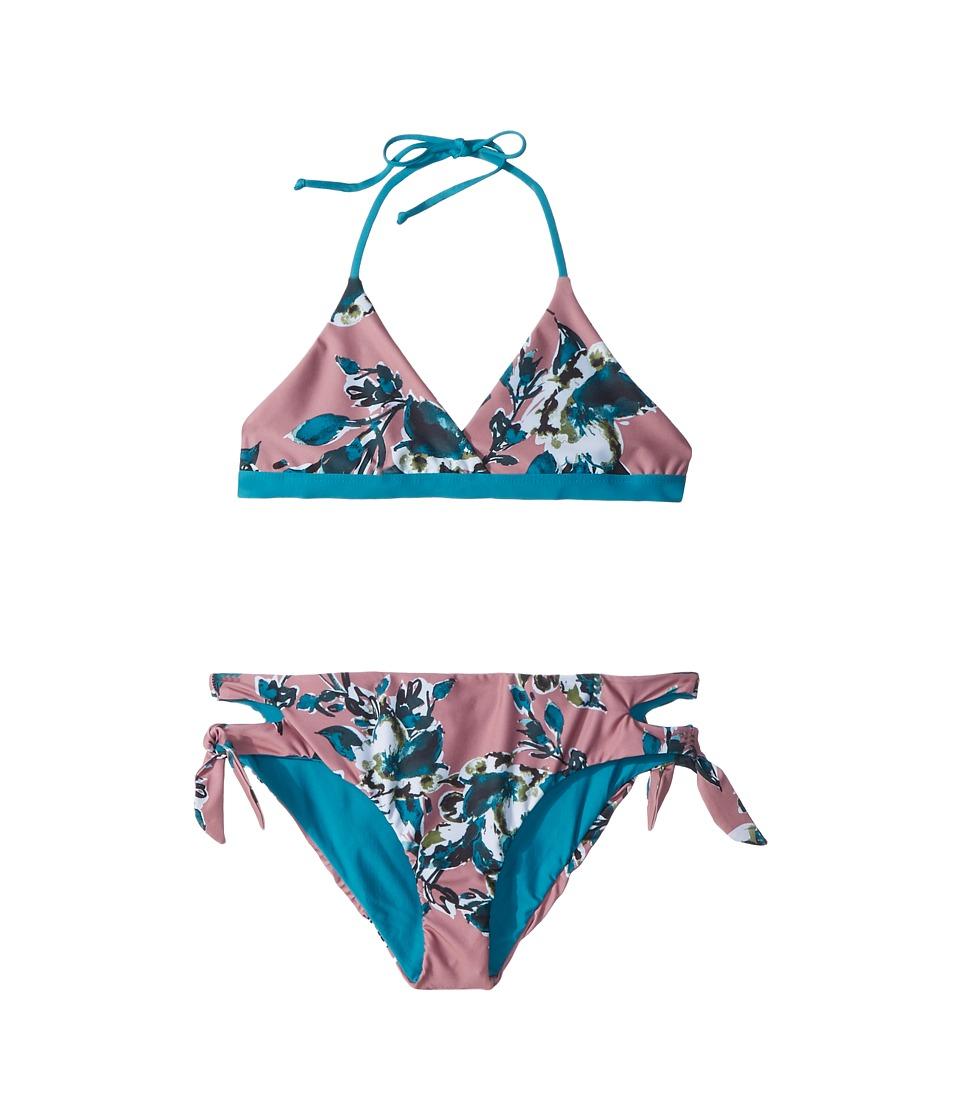 Splendid Littles - Watercolor Floral Reversible Bralette Cut Out Side Pants (Big Kid) (Sandy Pink) Girls Swimwear Sets