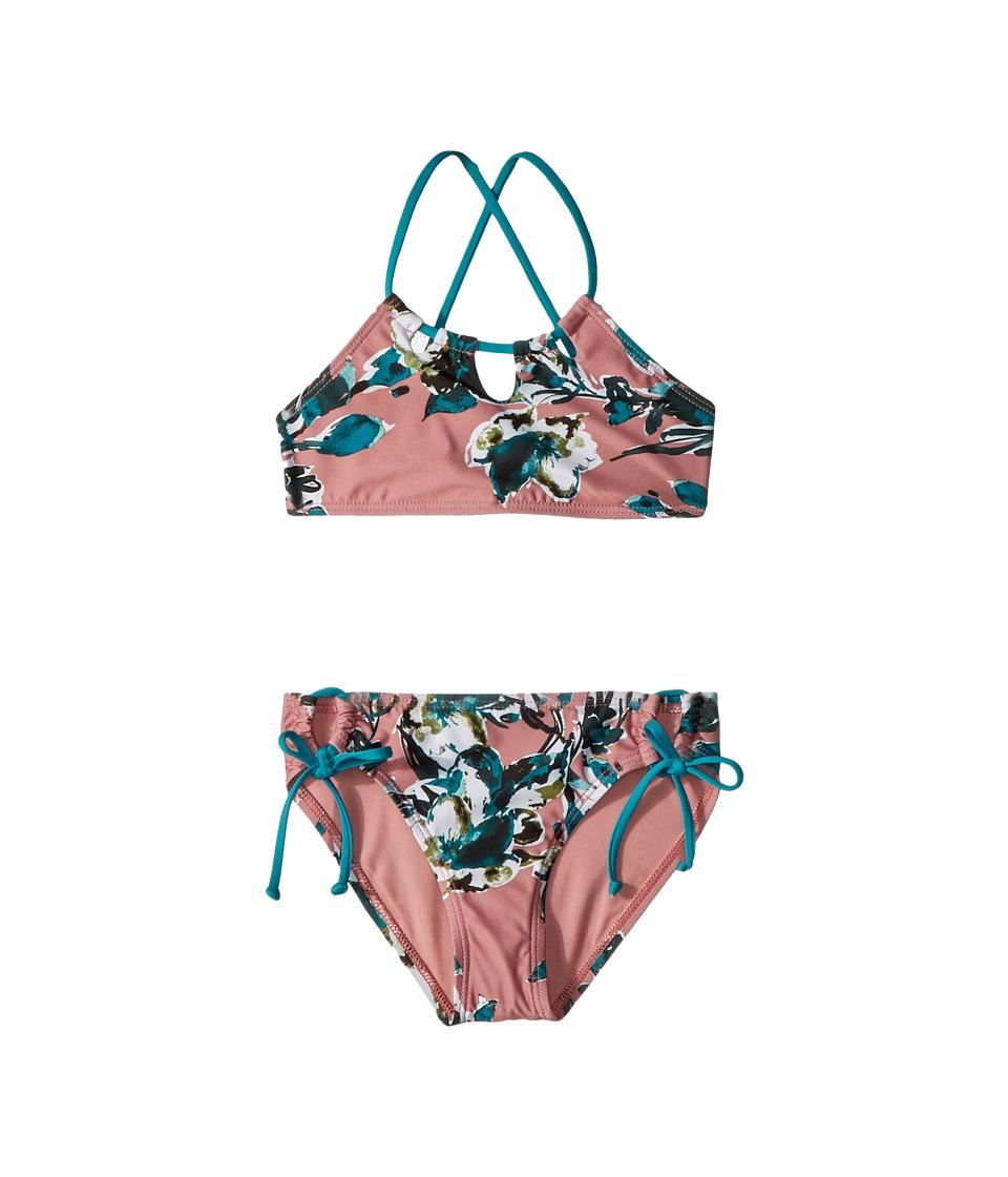 Splendid Littles - Watercolor Floral High Neck Bra Tunnel Side Pants (Big Kid) (Sandy Pink) Girls Swimwear Sets