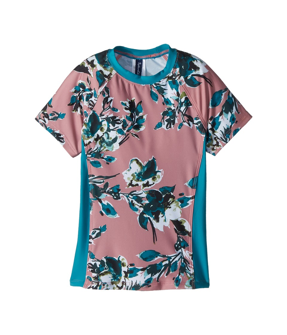Splendid Littles - Watercolor Floral Surf Shirt (Big Kid) (Sandy Pink) Girls Swimwear