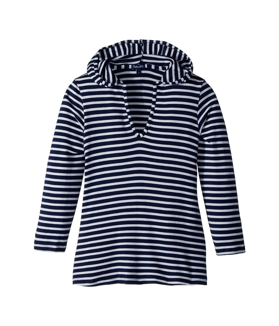 Splendid Littles - Stripe Hoodie Tunic (Big Kid) (Navy) Girls Sweatshirt