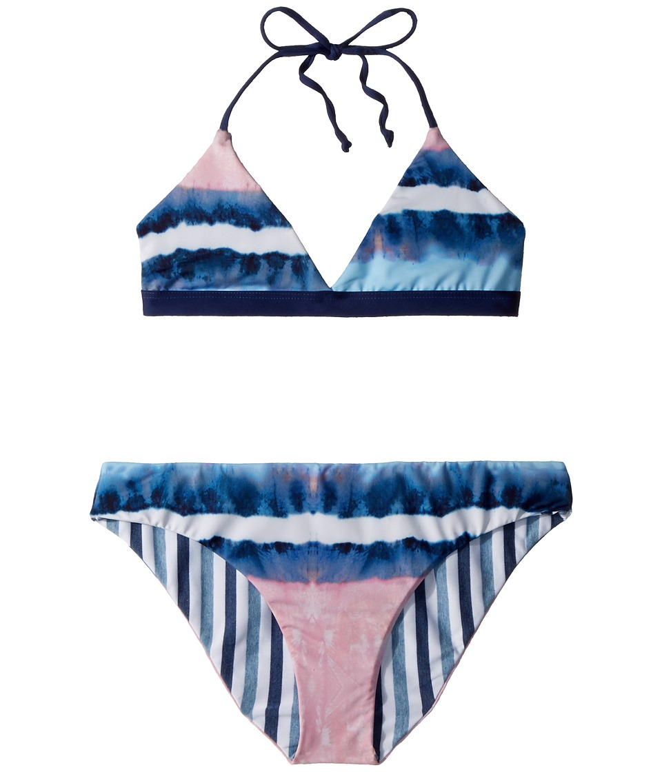Splendid Littles - Tie-Dye Stripe Reversible Bralette Reversible Retro Pants (Big Kid) (Blue) Girls Swimwear Sets