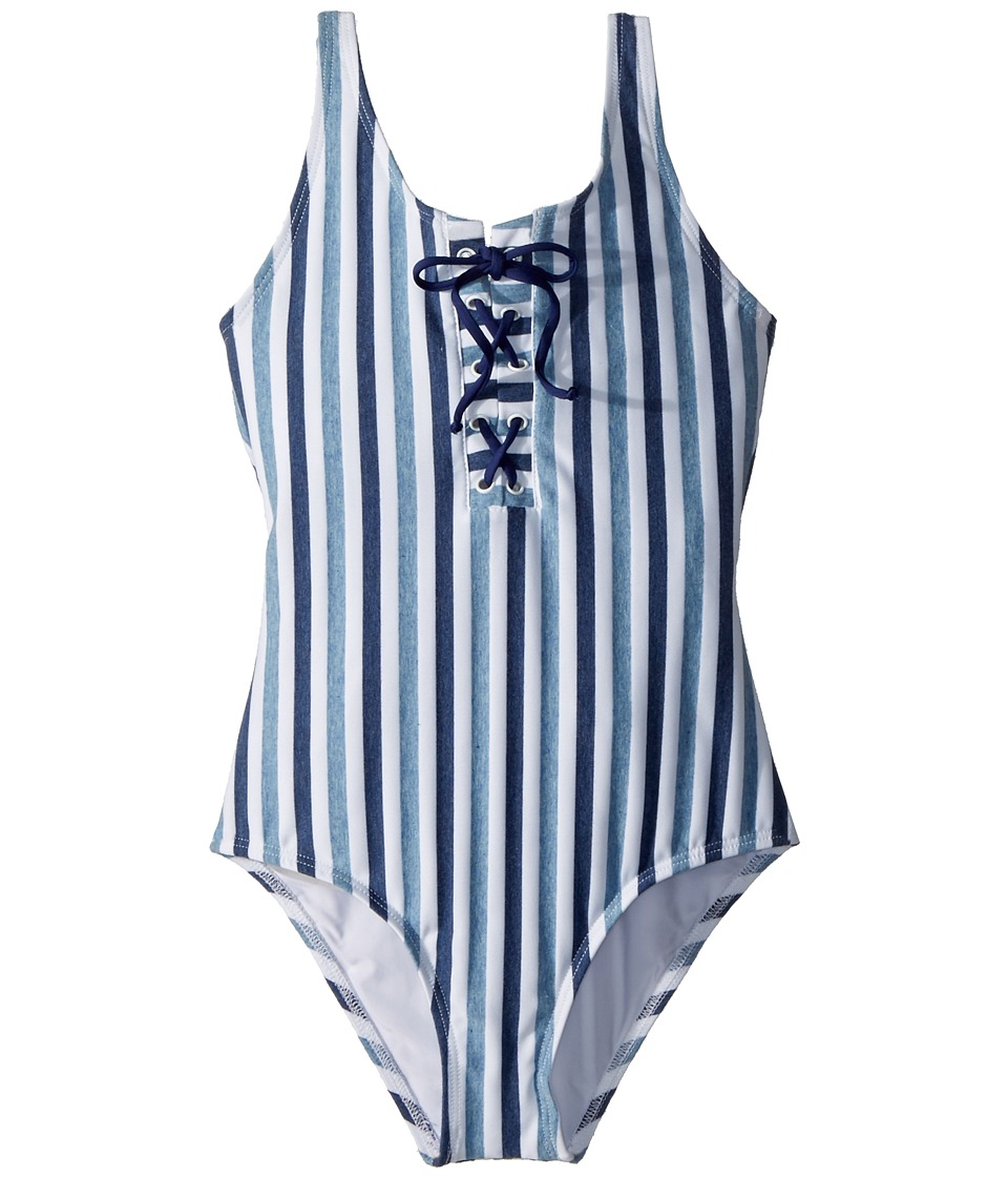 Splendid Littles - Tie-Dye Stripe One-Piece (Big Kid) (Blue) Girls Swimsuits One Piece