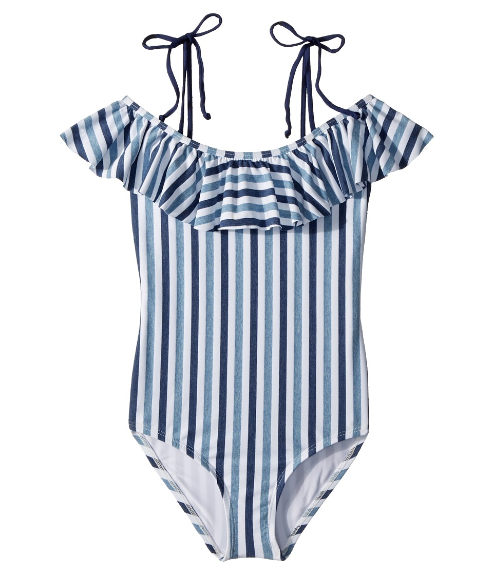 Splendid Littles - Tie-Dye Stripe Ruffle One-Piece (Big Kid) (Blue) Girls Swimsuits One Piece