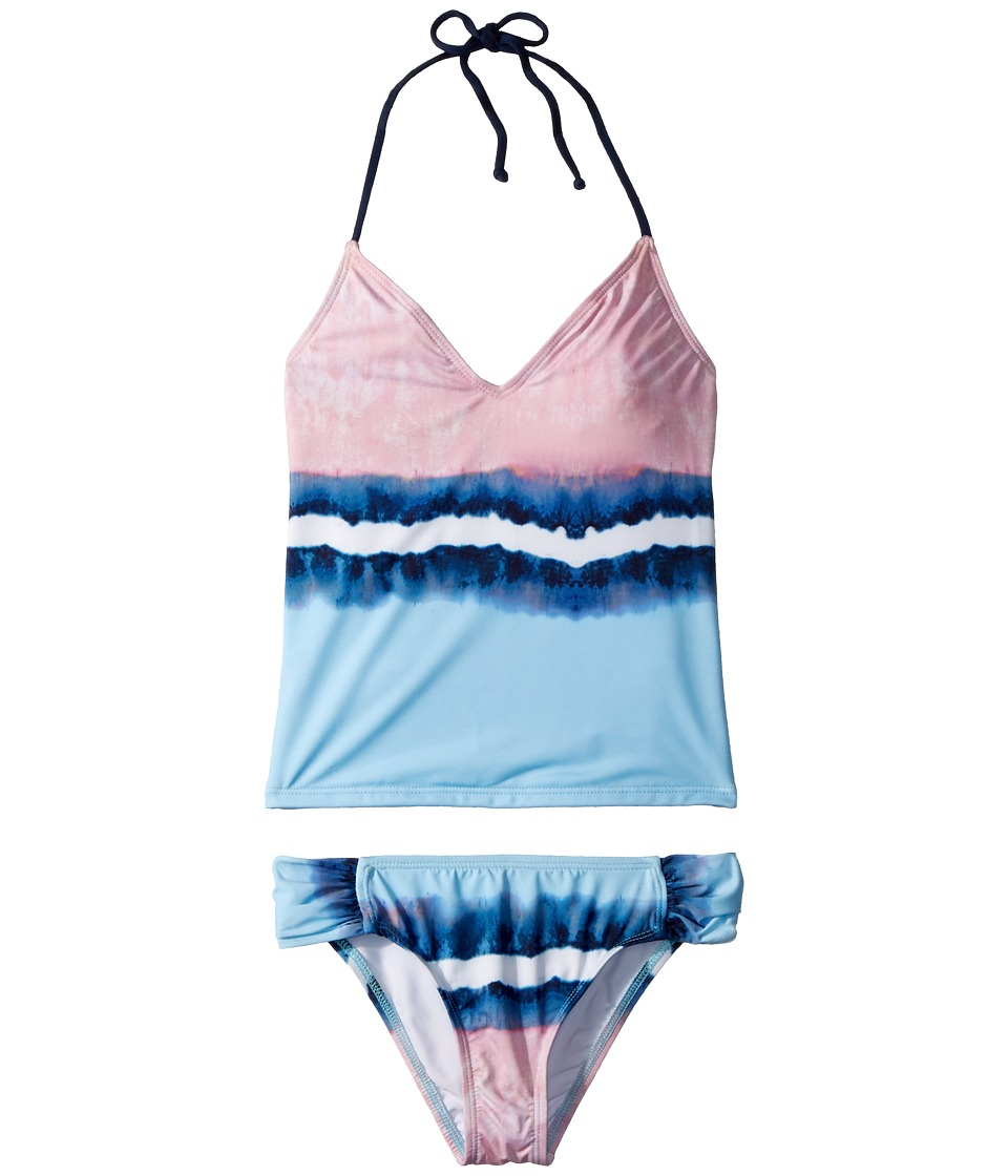 Splendid Littles - Tie-Dye Stripe Tankini Tab Side Pants (Big Kid) (Blue) Girls Swimwear Sets