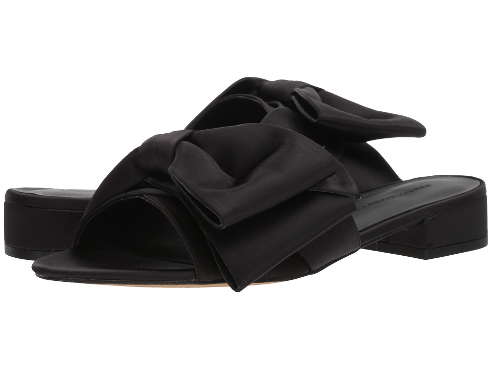 Rebecca Minkoff - Calista Slide (Black Satin) Womens Slide Shoes
