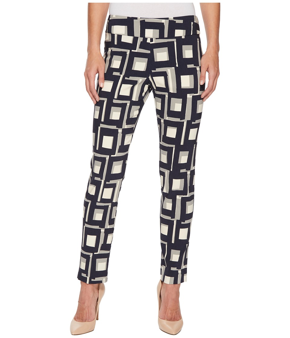 Krazy Larry - Pull-On Ankle Pants (Navy Squares) Womens Dress Pants