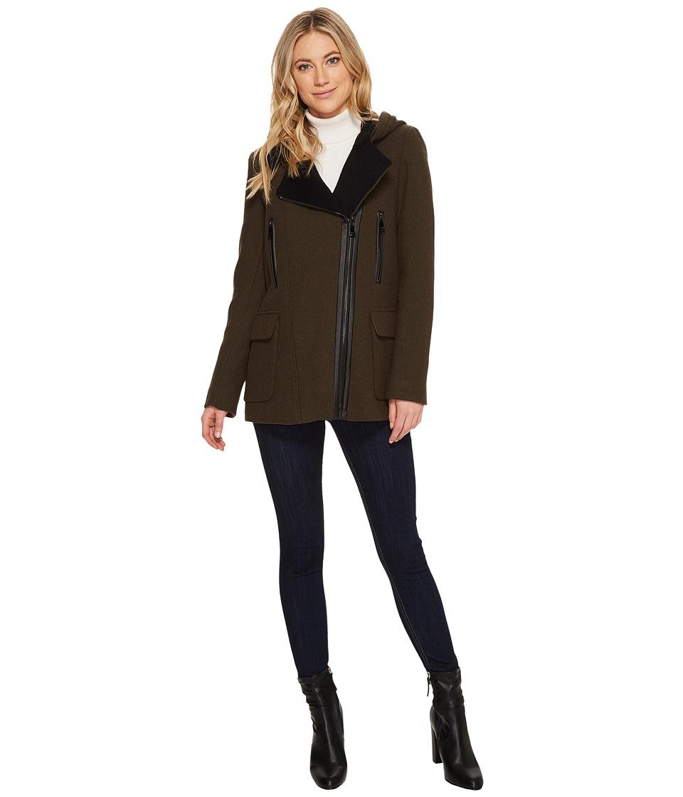 Calvin Klein Wool Asymmetric PU Trim with Removable Fur T...