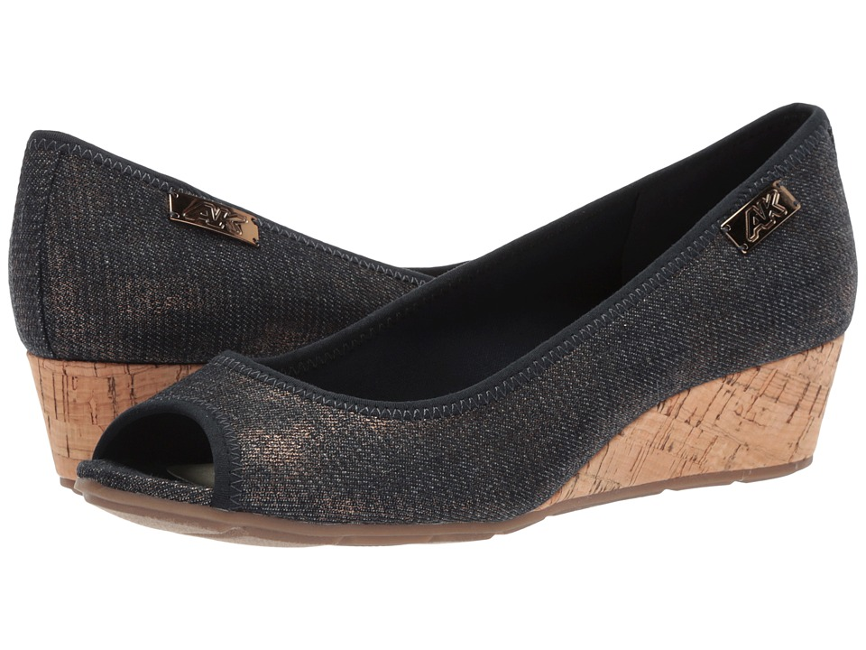 Anne Klein - Camrynne (Blue/Gold Multi) Womens Wedge Shoes