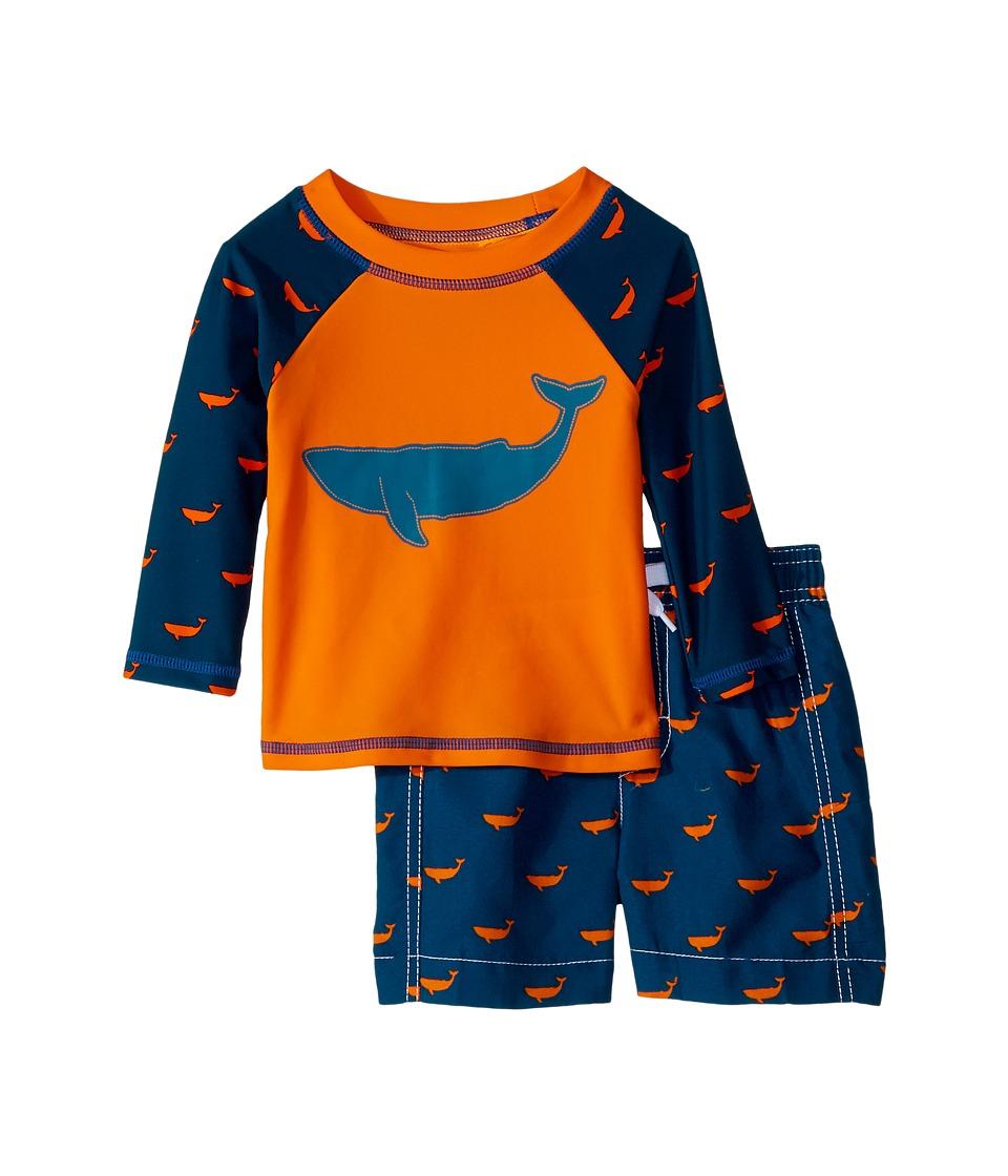 Hatley Kids Tiny Whales Mini Swim Trunks Rashguard Set (Infant) (Orange) Boy