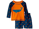Hatley Kids Tiny Whales Mini Swim Trunks Rashguard Set (Infant)