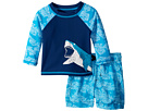 Hatley Kids Shark Alley Mini Swim Trunks Rashguard Set (Infant)