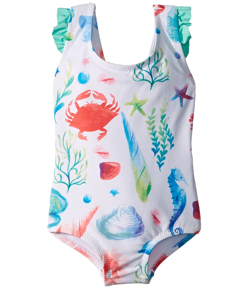 Hatley Kids - Ocean Treasures Ruffle Swimsuit (Toddler/Little Kids/Big Kids) (White) Girls Swimsuits One Piece