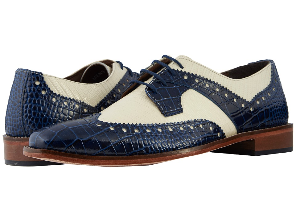 Mens Vintage Style Shoes| Retro Classic Shoes Stacy Adams Gusto Dark BlueIvory Mens Shoes $90.00 AT vintagedancer.com