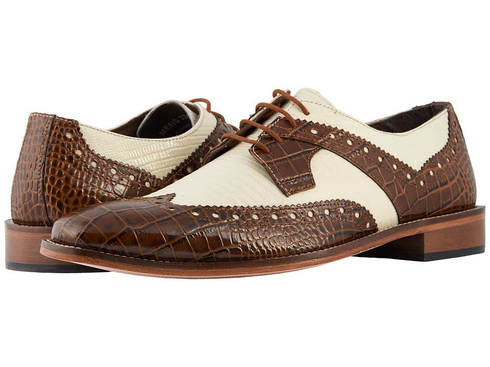 1930s Men's Clothing Stacy Adams Gusto MustardIvory Mens Shoes $90.00 AT vintagedancer.com