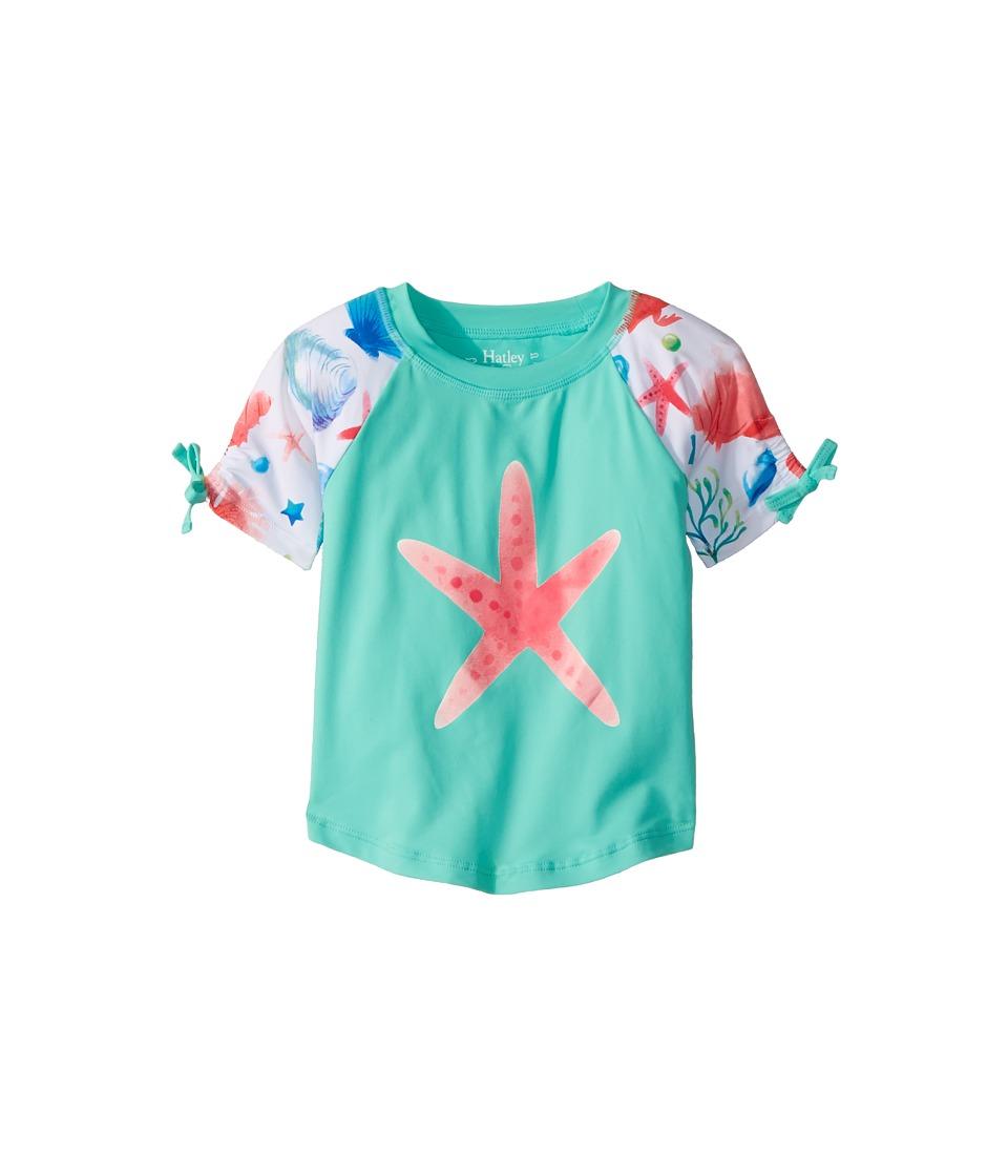 Hatley Kids - Ocean Treasures Short Sleeve Rashguard (Toddler/Little Kids/Big Kids) (Aqua) Girls Swimwear
