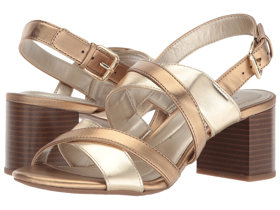 Bandolino Stepa (Soft Gold/Deep Bronze Metallic Nappa PU) Women's Shoes
