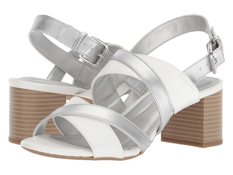 Bandolino Stepa (White/Silver Eternal Lichee Hjah) Women's Shoes