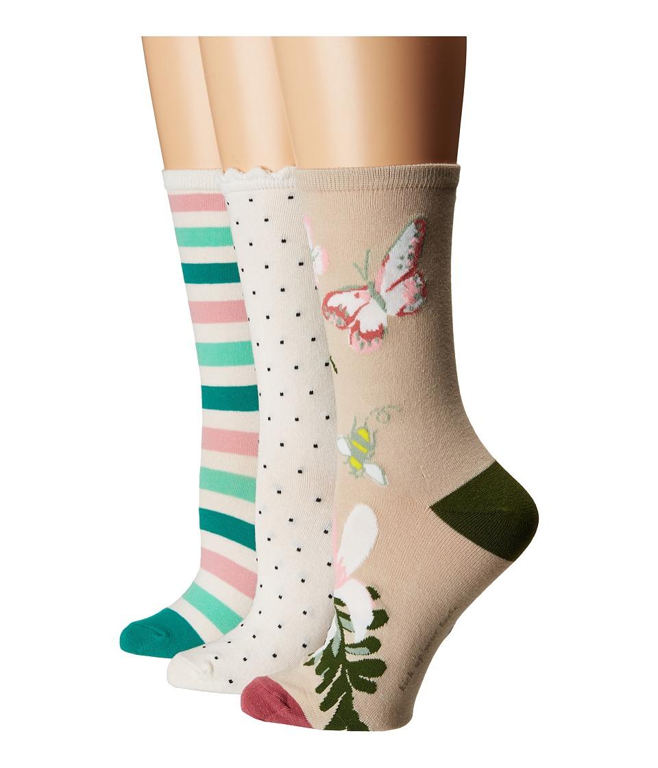 Kate Spade New York - Botanical 3-Pack Trouser Socks (Camel) Womens Crew Cut Socks Shoes