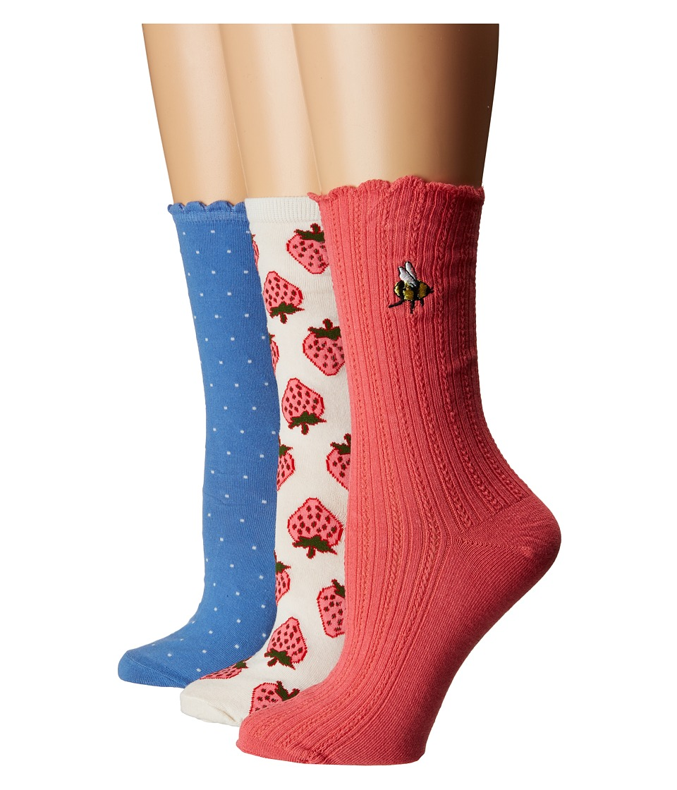 Kate Spade New York - Strawberry Rib 3-Pack Trouser Socks (White) Womens Crew Cut Socks Shoes