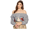 J.O.A. Embroidered Off the Shoulder Top