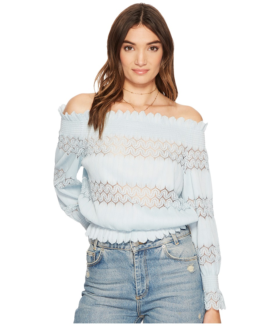 J.O.A. - Smocked Off the Shoulder Knit Lace Top (Mint) Womens Clothing