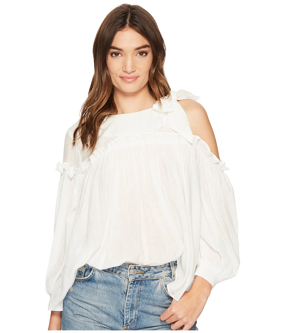 J.O.A. - 3/4 Sleeve Single Side Cold Shoulder Top (Off-White) Womens Clothing