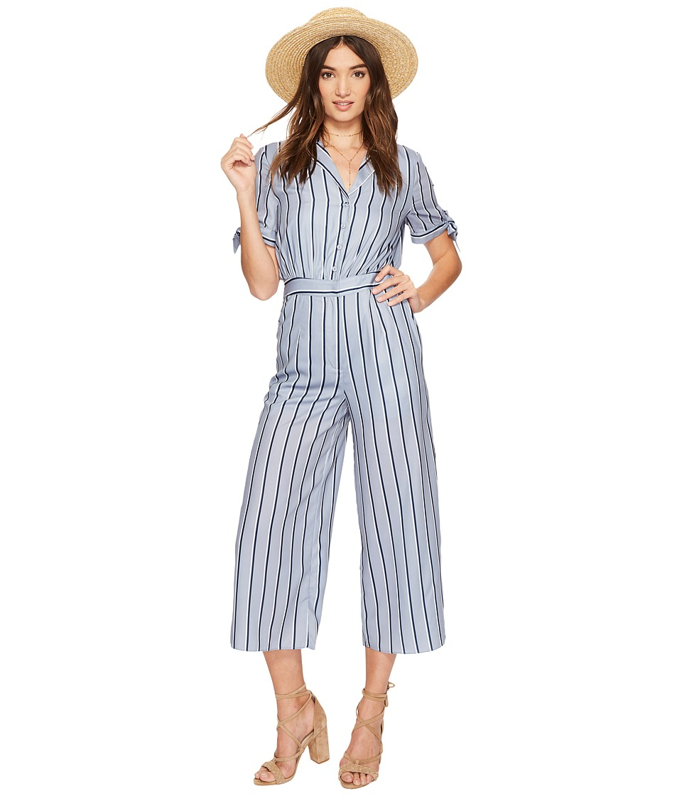 J.O.A. - Wide Leg Jumpsuit with Sleeve Ties (Blue Stripe) Womens Jumpsuit & Rompers One Piece