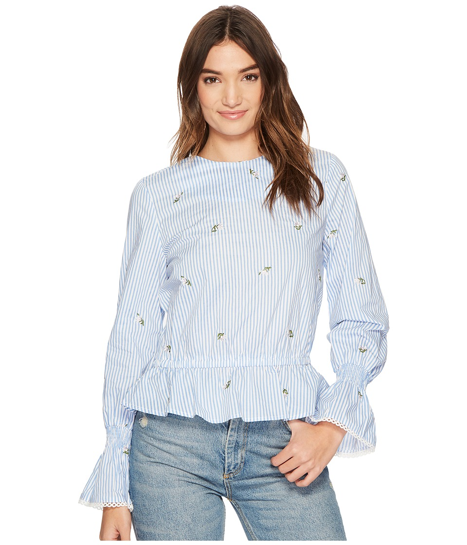 J.O.A. - Bubble Sleeve Top (Blue/Ivory Stripe) Womens Clothing