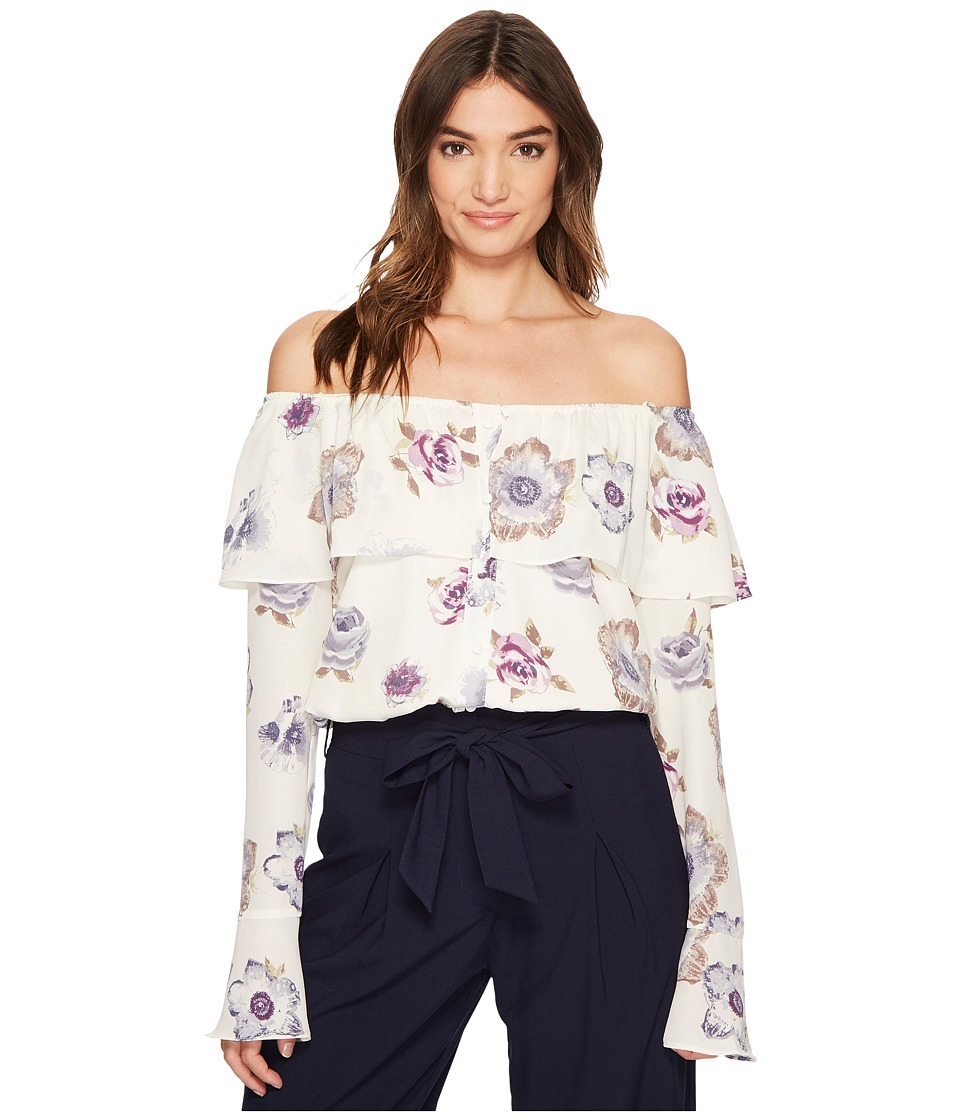 J.O.A. - Off the Shoulder Button Up Top (Lavender Floral) Womens Clothing