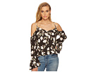 J.O.A. J.O.A. Button Front Cold Shoulder Flare Top