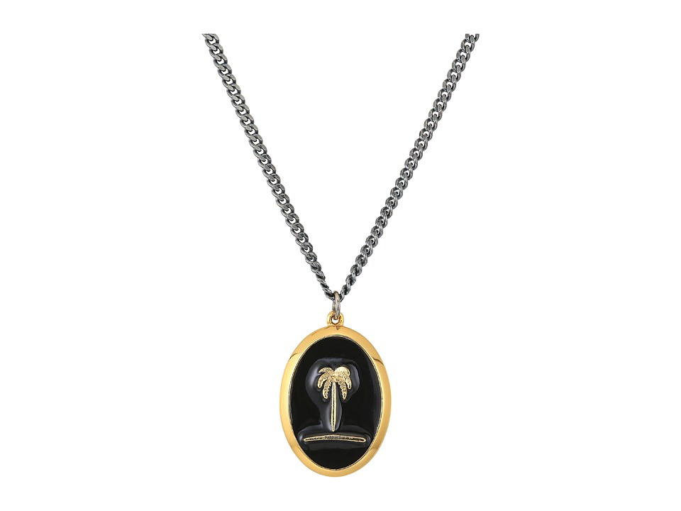 Miansai - Palm Tree Pendant Necklace (Polished Gold/Black) Necklace