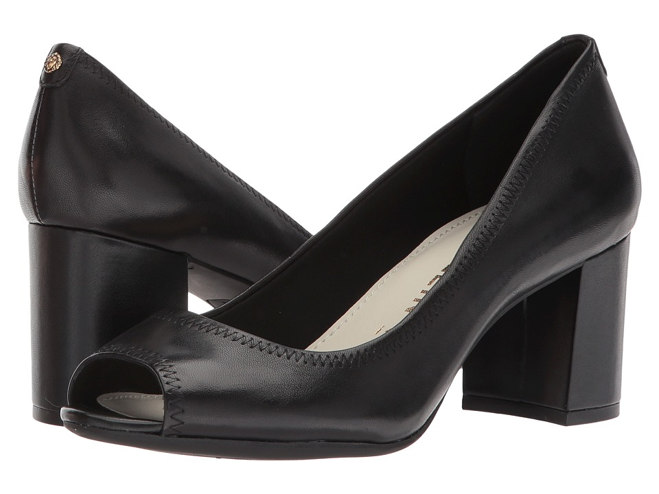 Anne Klein Meredith (Black Leather) Women's Shoes