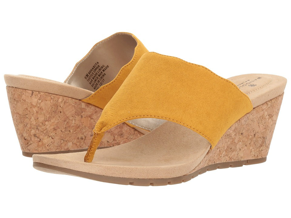 Vintage Style Shoes, Vintage Inspired Shoes Bandolino - Sarita Marigold Faux Suede Womens Shoes $58.95 AT vintagedancer.com