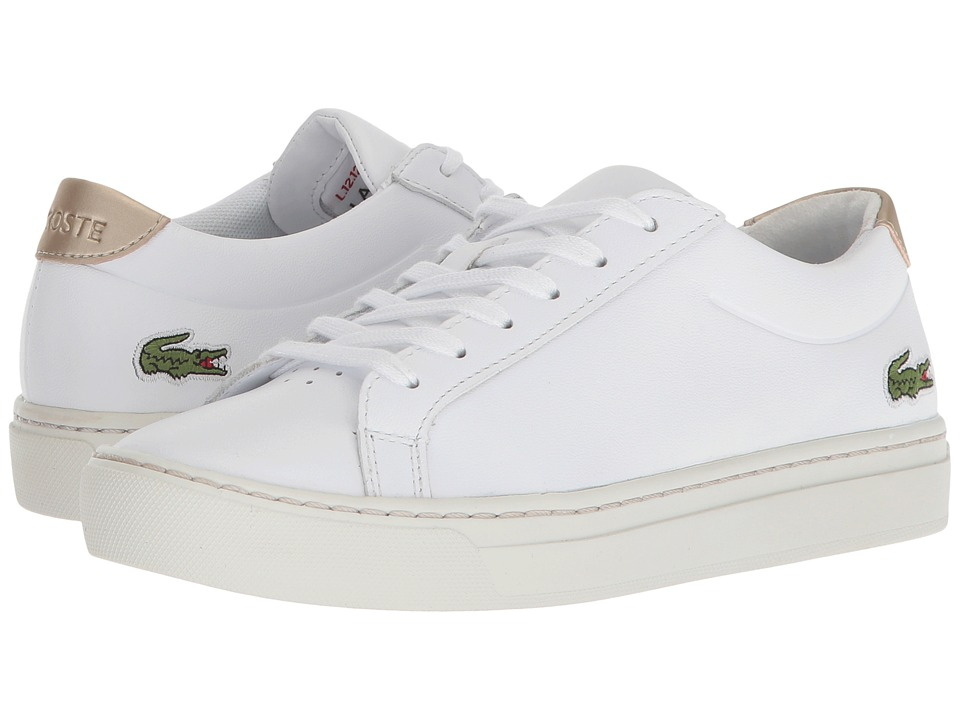 Lacoste Kids - L.12.12 (Little Kid/Big Kid) (White/Gold) Kids Shoes