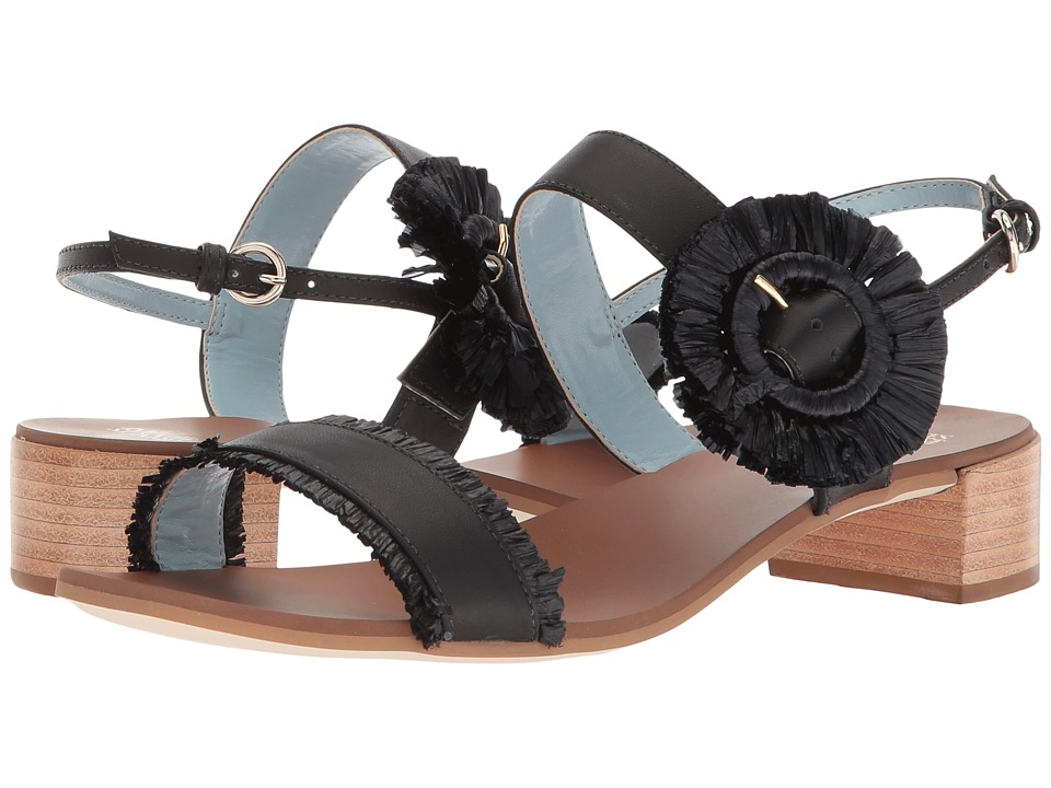 Frances Valentine Joy (Black Calf/Raffia) Women's Shoes