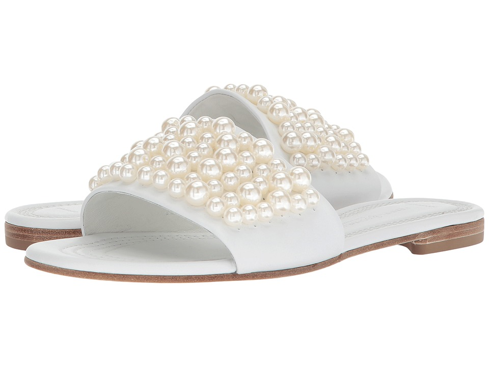 Kennel & Schmenger - Elle Pearl Slide (White Calf/Pearls) Womens Slide Shoes