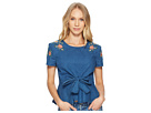 J.O.A. Embroidered Tie Front Top